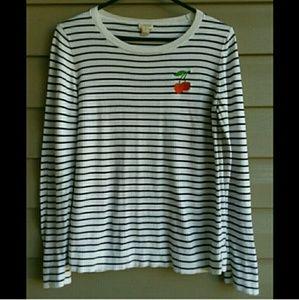 J. CREW Striped Cherry Lightweight Sweater Medium